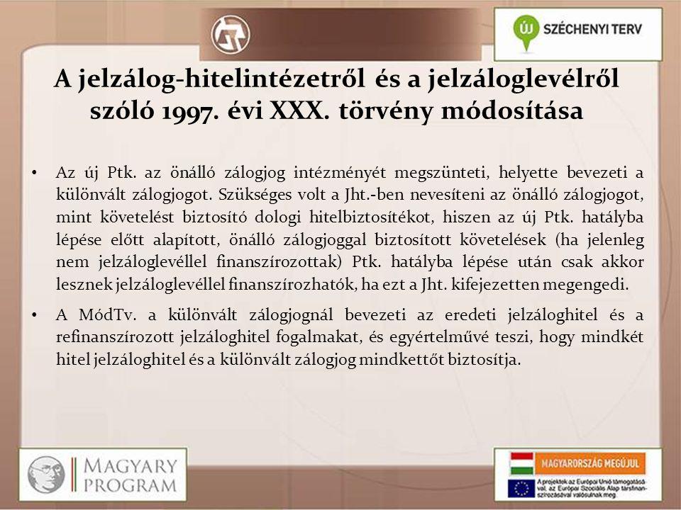 A jelzálog-hitelintézetről és a jelzáloglevélről szóló 1997. évi XXX