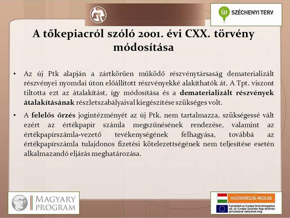 A tőkepiacról szóló 2001. évi CXX. törvény módosítása