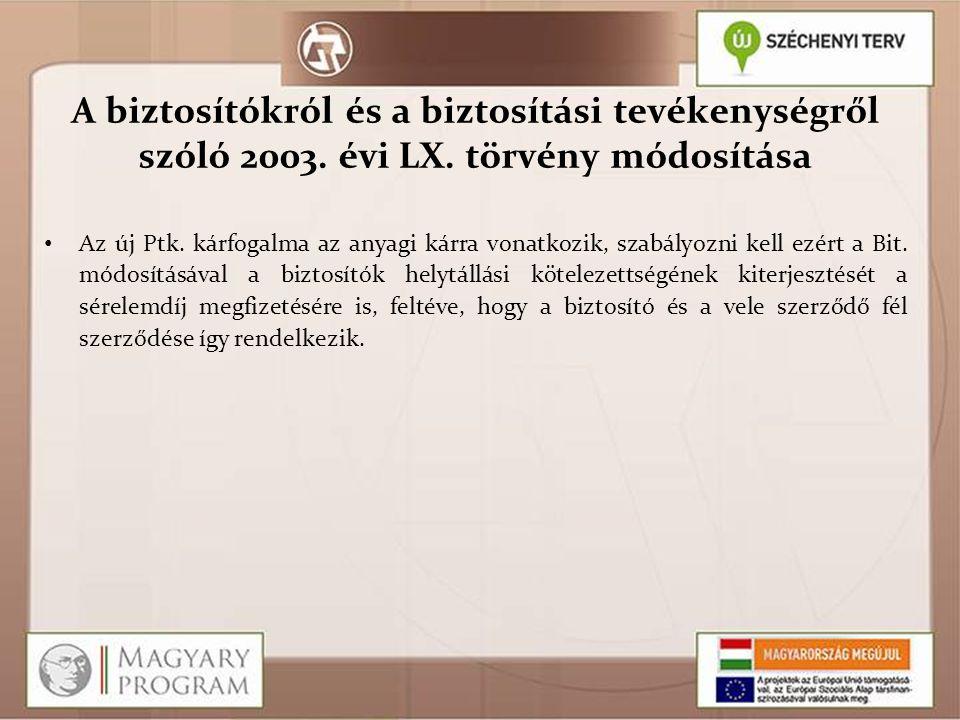 A biztosítókról és a biztosítási tevékenységről szóló 2003. évi LX
