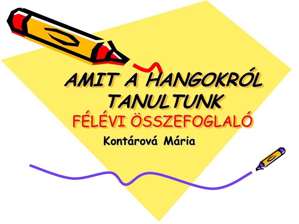 AMIT A HANGOKRÓL TANULTUNK FÉLÉVI ÖSSZEFOGLALÓ