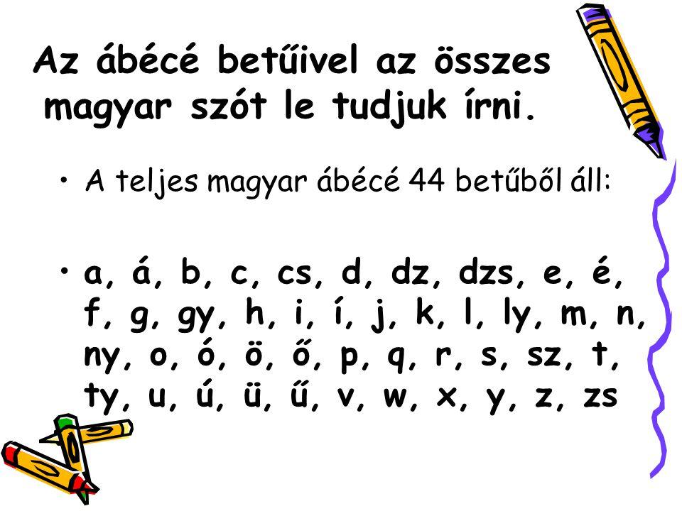 Az ábécé betűivel az összes magyar szót le tudjuk írni.