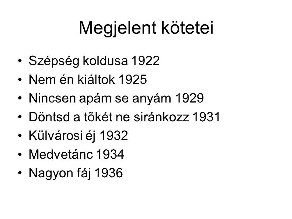 Megjelent kötetei Szépség koldusa 1922 Nem én kiáltok 1925