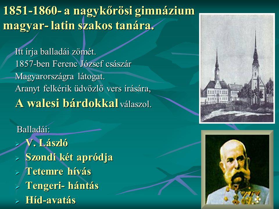 1851-1860- a nagykőrösi gimnázium magyar- latin szakos tanára.