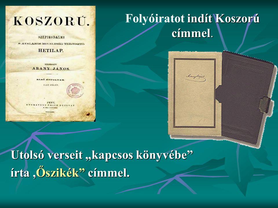 Folyóiratot indít Koszorú címmel.