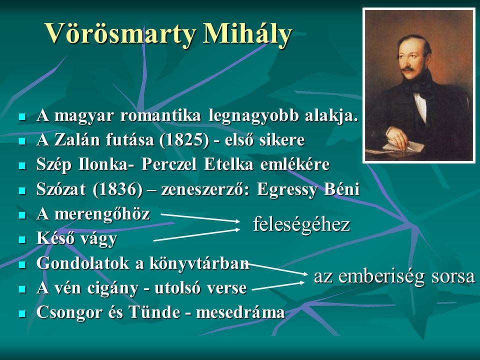 Vörösmarty Mihály feleségéhez az emberiség sorsa