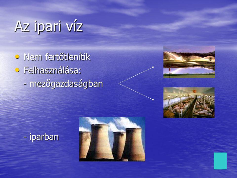 Az ipari víz Nem fertőtlenítik Felhasználása: - mezőgazdaságban