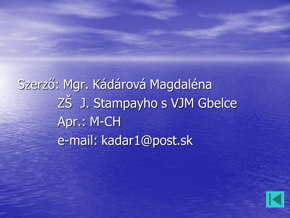 Szerző: Mgr. Kádárová Magdaléna