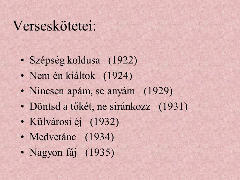 Verseskötetei: Szépség koldusa (1922) Nem én kiáltok (1924)