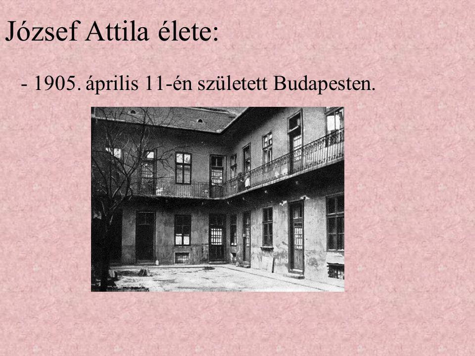 József Attila élete: - 1905. április 11-én született Budapesten.