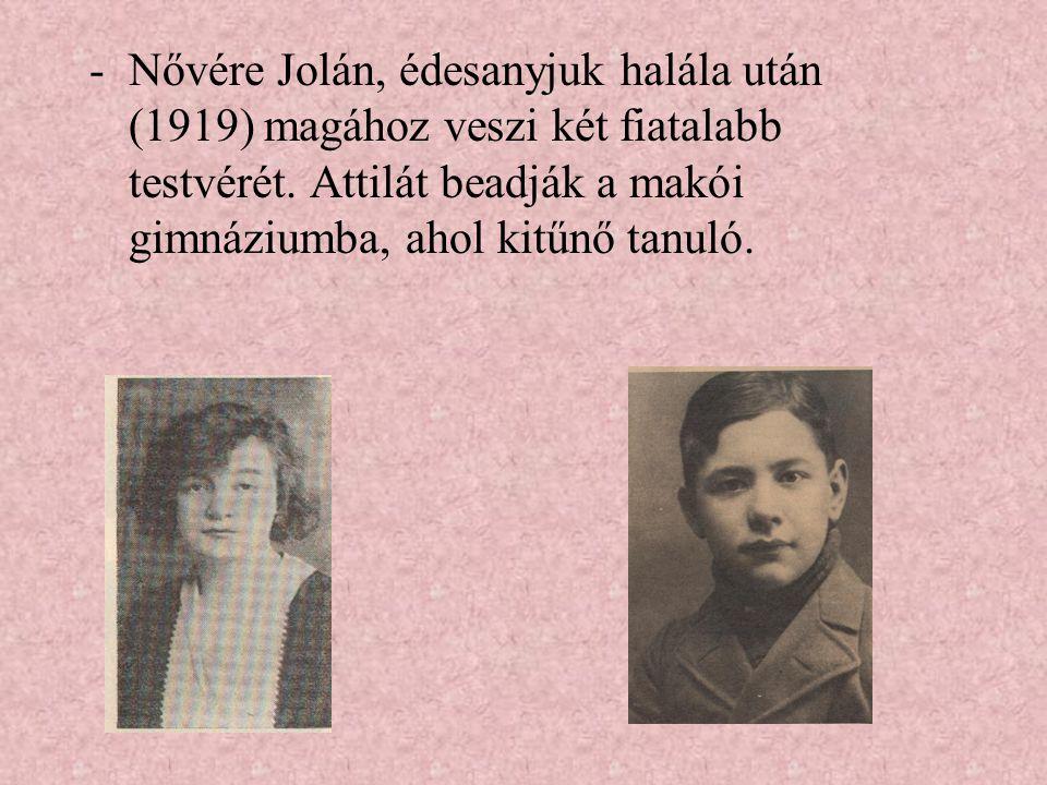 Nővére Jolán, édesanyjuk halála után (1919) magához veszi két fiatalabb testvérét.