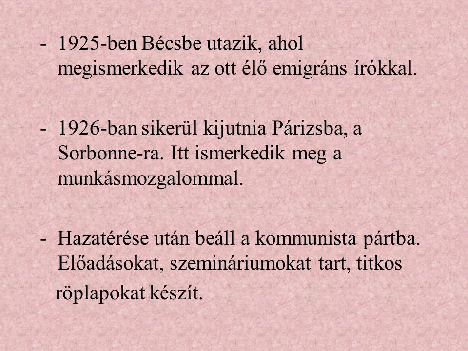 1925-ben Bécsbe utazik, ahol megismerkedik az ott élő emigráns írókkal.