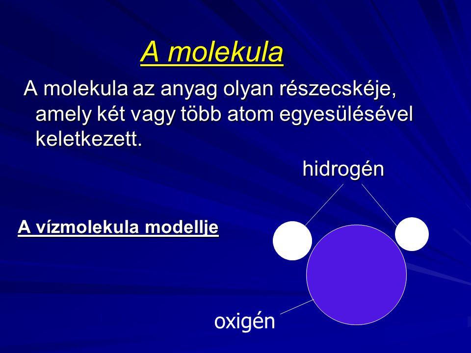 A molekula A molekula az anyag olyan részecskéje, amely két vagy több atom egyesülésével keletkezett.