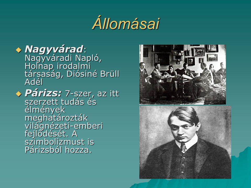 Állomásai Nagyvárad: Nagyváradi Napló, Holnap irodalmi társaság, Diósiné Brüll Adél.