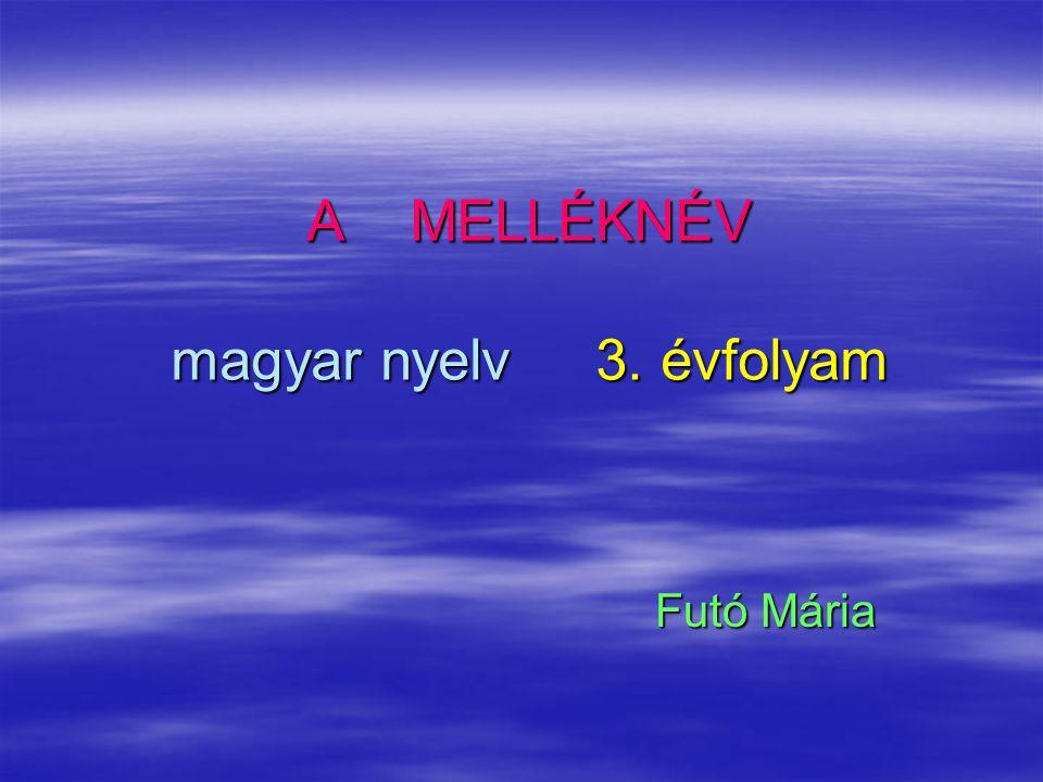 A MELLÉKNÉV magyar nyelv 3. évfolyam