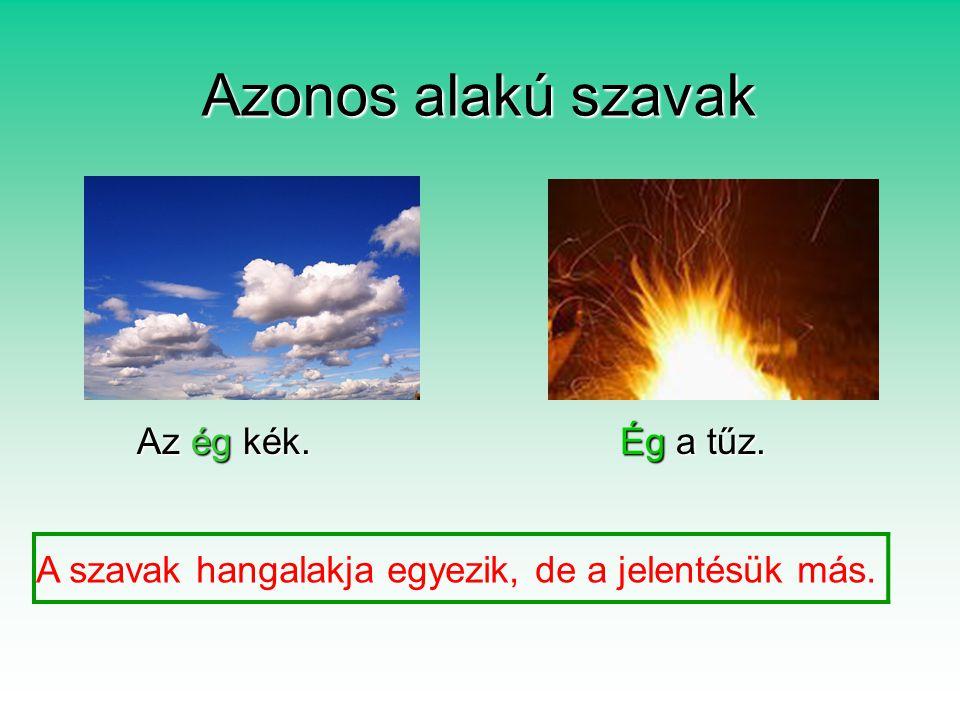 Azonos alakú szavak Az ég kék. Ég a tűz.