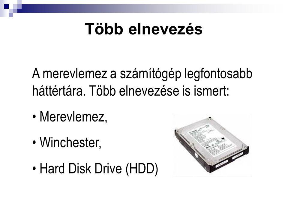 Több elnevezés A merevlemez a számítógép legfontosabb háttértára. Több elnevezése is ismert: Merevlemez,