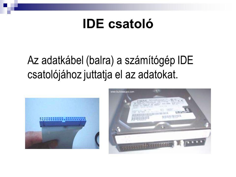IDE csatoló Az adatkábel (balra) a számítógép IDE csatolójához juttatja el az adatokat.