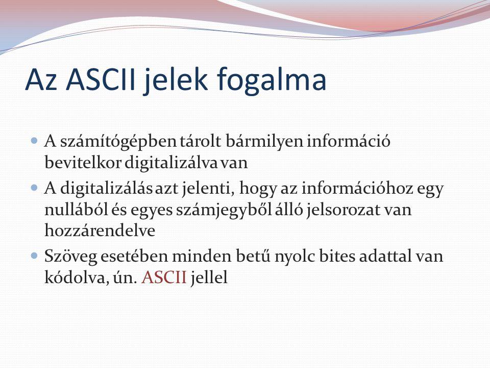 Az ASCII jelek fogalma A számítógépben tárolt bármilyen információ bevitelkor digitalizálva van.