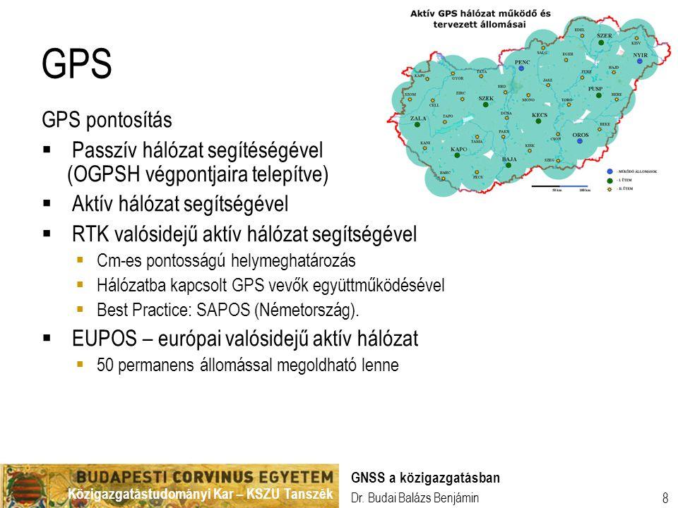 GPS GPS pontosítás. Passzív hálózat segítéségével (OGPSH végpontjaira telepítve) Aktív hálózat segítségével.