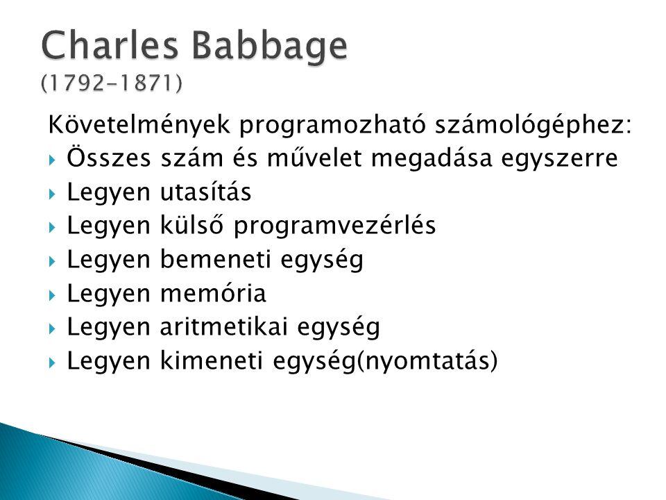 Charles Babbage (1792-1871) Követelmények programozható számológéphez: