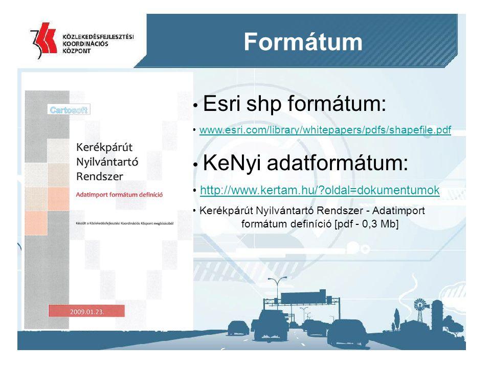 Formátum Esri shp formátum: KeNyi adatformátum: