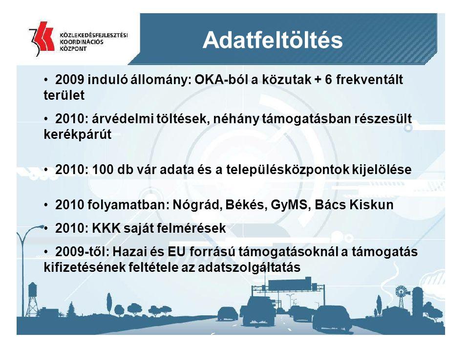 Adatfeltöltés 2009 induló állomány: OKA-ból a közutak + 6 frekventált terület. 2010: árvédelmi töltések, néhány támogatásban részesült kerékpárút.