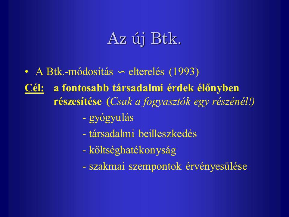 Az új Btk. A Btk.-módosítás ∽ elterelés (1993)