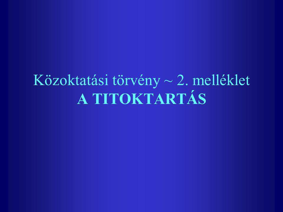 Közoktatási törvény ~ 2. melléklet A TITOKTARTÁS