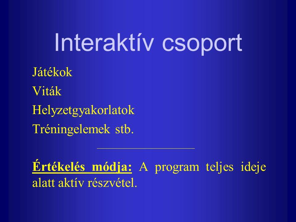 Interaktív csoport Játékok Viták Helyzetgyakorlatok Tréningelemek stb.
