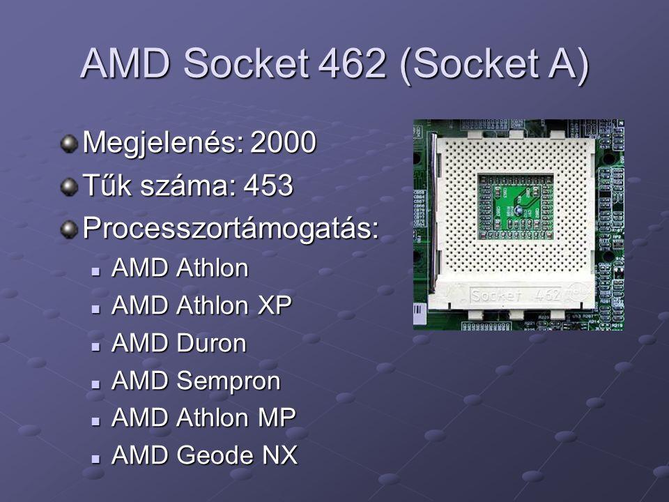 AMD Socket 462 (Socket A) Megjelenés: 2000 Tűk száma: 453