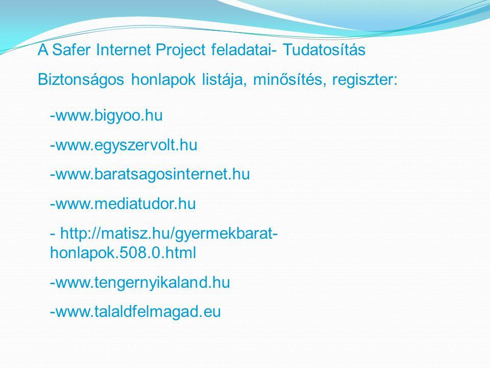A Safer Internet Project feladatai- Tudatosítás