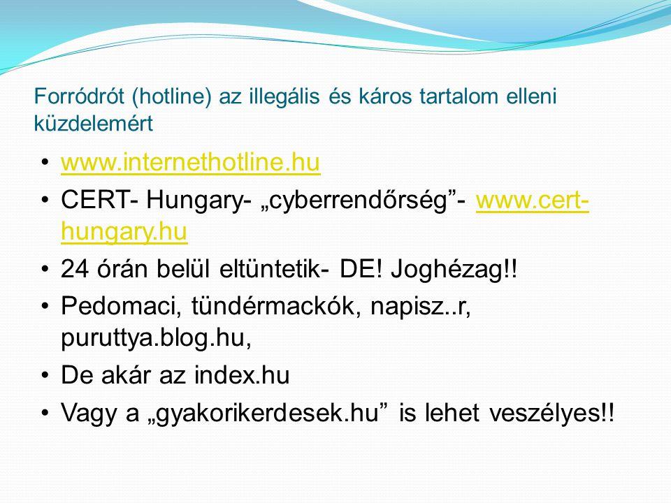 Forródrót (hotline) az illegális és káros tartalom elleni küzdelemért