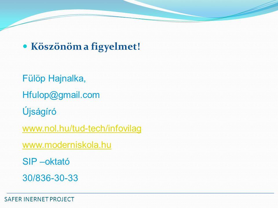 Köszönöm a figyelmet! Fülöp Hajnalka, Hfulop@gmail.com Újságíró