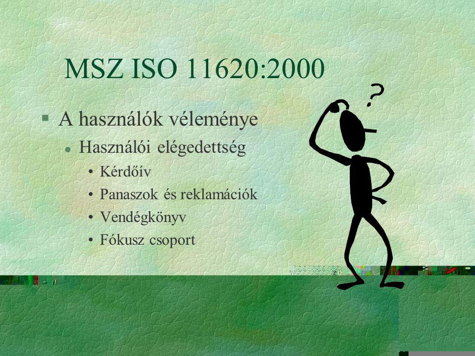 MSZ ISO 11620:2000 A használók véleménye Használói elégedettség