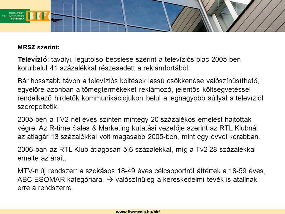 MRSZ szerint: Televízió: tavalyi, legutolsó becslése szerint a televíziós piac 2005-ben körülbelül 41 százalékkal részesedett a reklámtortából.