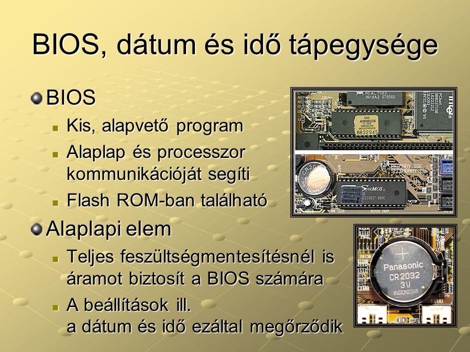 BIOS, dátum és idő tápegysége