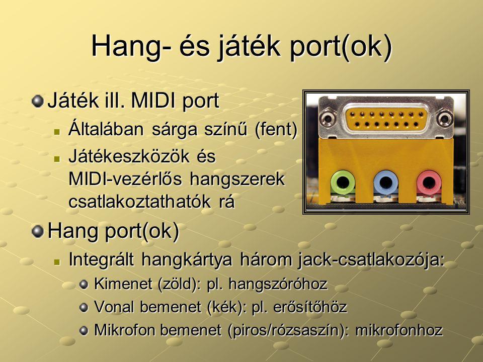 Hang- és játék port(ok)