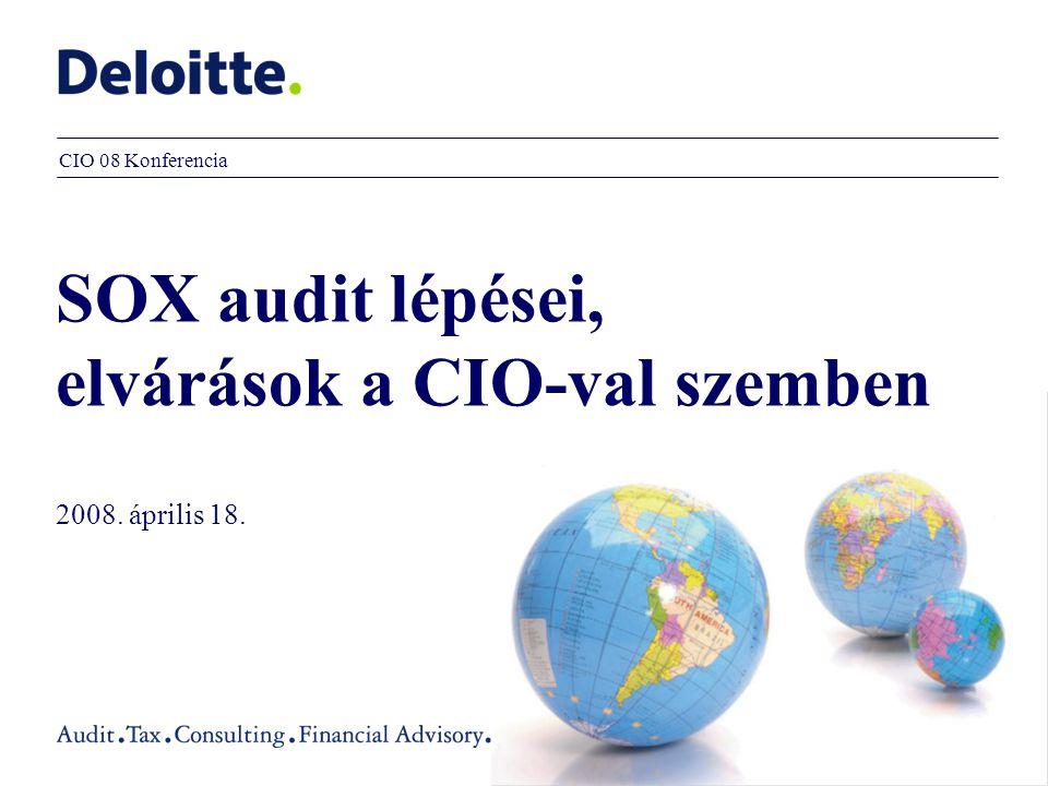 SOX audit lépései, elvárások a CIO-val szemben