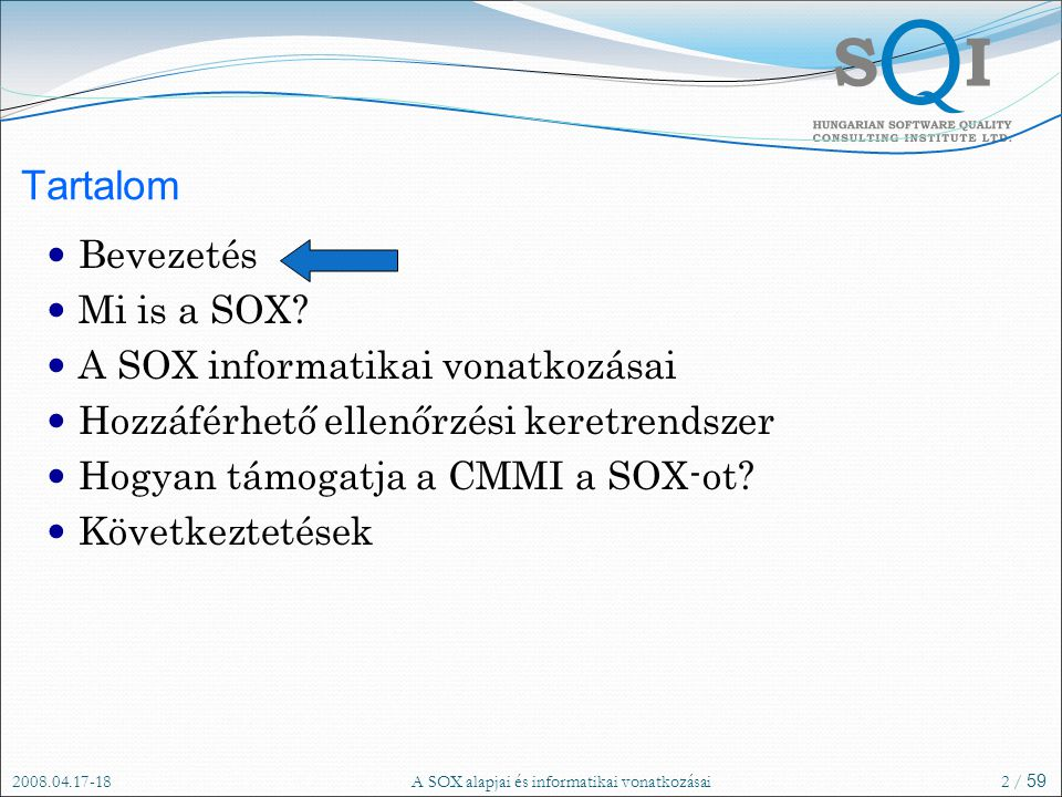 A SOX alapjai és informatikai vonatkozásai