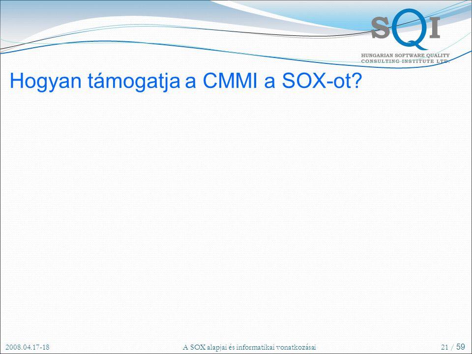 Hogyan támogatja a CMMI a SOX-ot