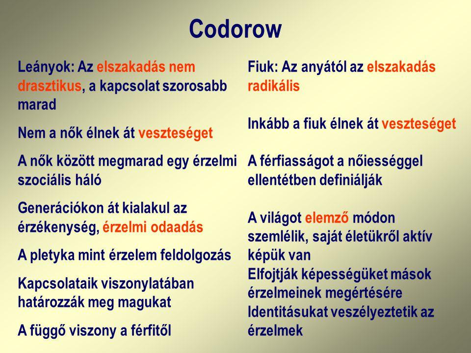 Codorow Leányok: Az elszakadás nem drasztikus, a kapcsolat szorosabb marad. Nem a nők élnek át veszteséget.