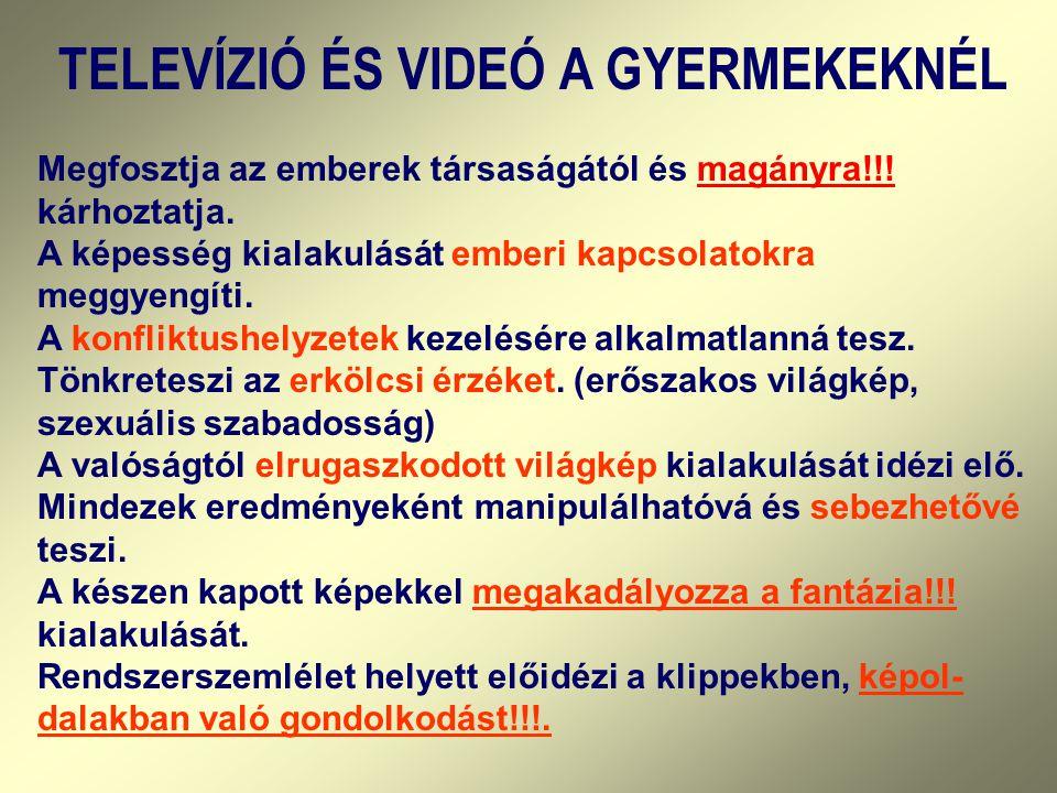 TELEVÍZIÓ ÉS VIDEÓ A GYERMEKEKNÉL