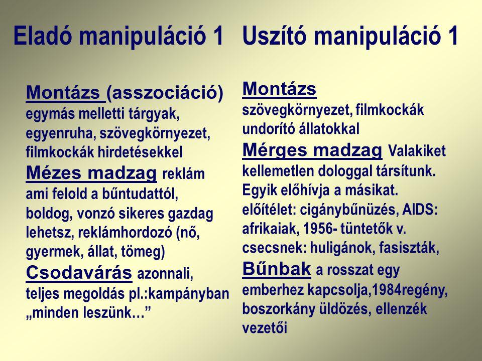 Eladó manipuláció 1 Uszító manipuláció 1