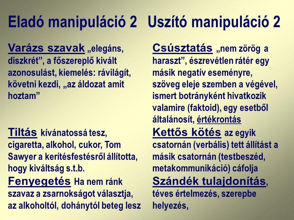 Eladó manipuláció 2 Uszító manipuláció 2