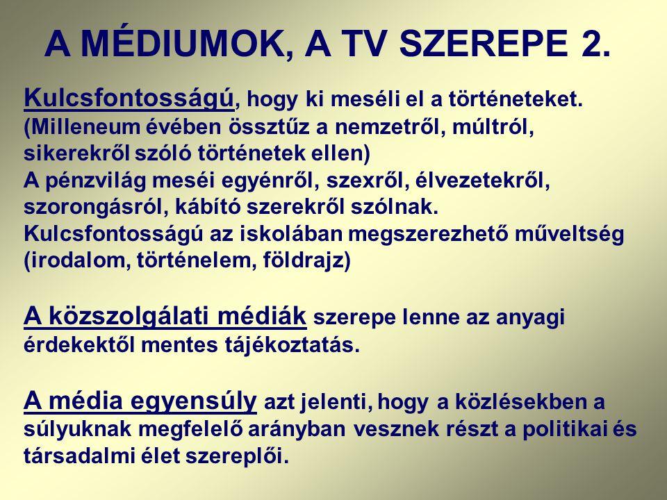 A MÉDIUMOK, A TV SZEREPE 2.