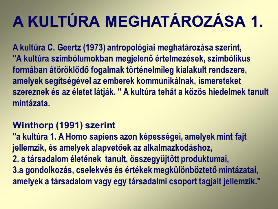 A KULTÚRA MEGHATÁROZÁSA 1.