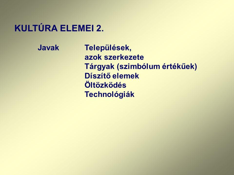 KULTÚRA ELEMEI 2. Javak Települések, azok szerkezete