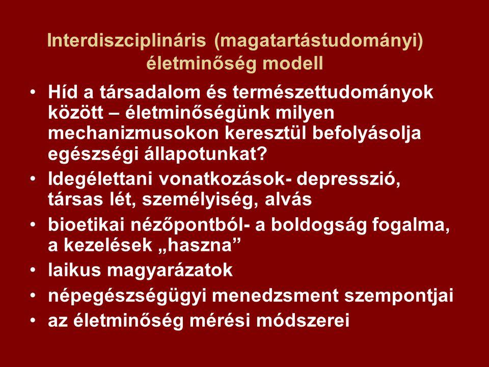 Interdiszciplináris (magatartástudományi) életminőség modell