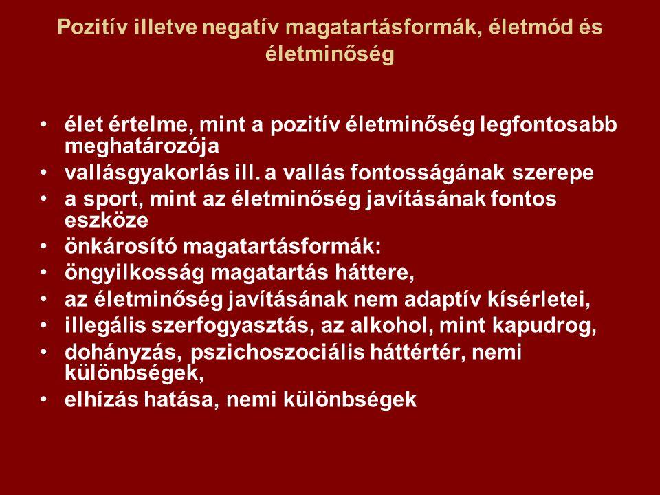 Pozitív illetve negatív magatartásformák, életmód és életminőség