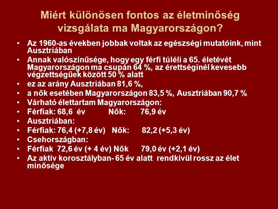 Miért különösen fontos az életminőség vizsgálata ma Magyarországon